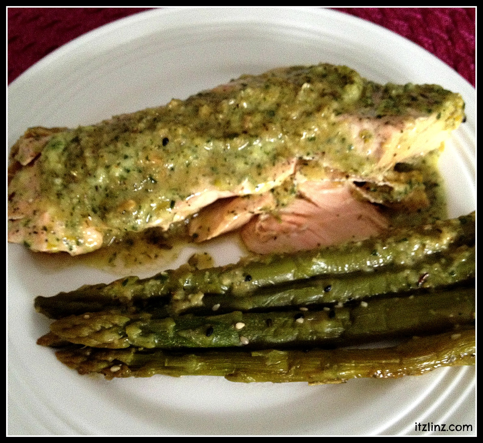 Chimichura Salmon with Marinated Asparagus