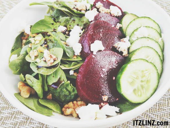 Beet, Walnut, Cucumber, & Honey Goat Cheese Spinach Salad 1
