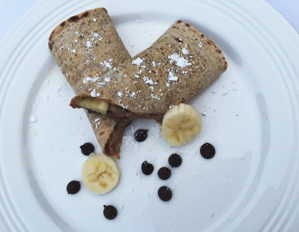 chocolate chip banana peanut butter protein wrap