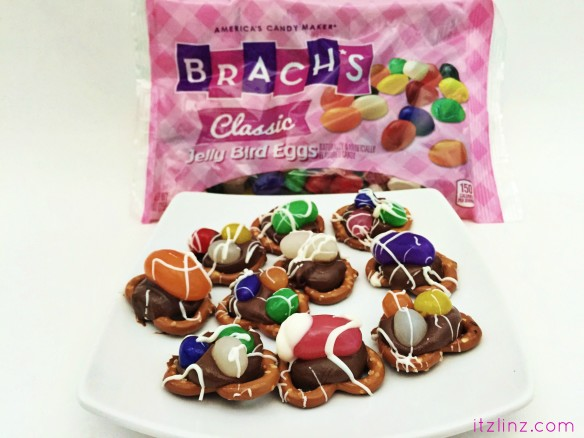 chocolate pretzel jelly bean bites recipe