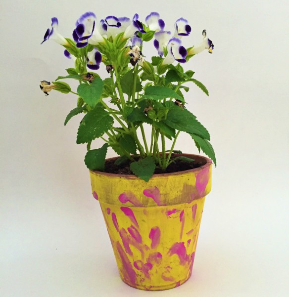 hand painted pot of flowers